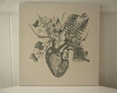 Growing Human Heart silk screened cotton canvas wall hanging 18x18 gray