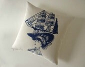 Lady with a Fancy Hat silk screened cotton canvas throw pillow 18 inch Navy