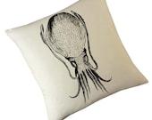 Cuttlefish squid silk screened cotton canvas throw pillow 18 inch black