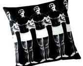 Man Chain silk screened cotton canvas throw pillow 18 inch white on black