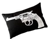 Vintage Colt Revolver cotton canvas throw pillow 12x18 white on black