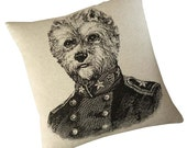 General Yorkie silk screened cotton canvas throw pillow 18 inch black