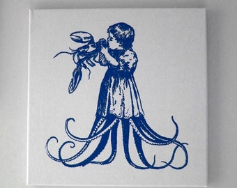 Starving Child Eating Juicy Lobster silk screened natural canvas wall hanging 16x16 NAVY