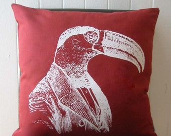 Professor Toucan silkscreened red cotton canvas throw pillow 18 inch square