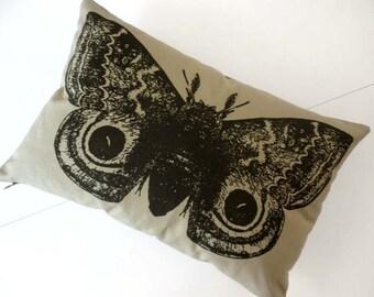 Giant IO Moth silk screened cotton canvas throw pillow KHAKI 18x12