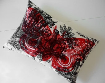 Giant IO Moth silk screened cotton toile throw pillow 12x18 red
