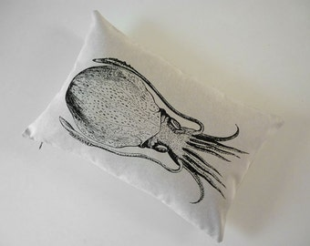 White Cuttlefish Squid silk screened cotton canvas throw pillow 12x18 black