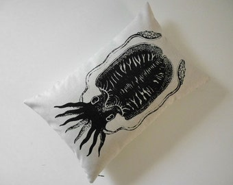 Cuttlefish Squid silk screened cotton canvas throw pillow 12x18 black