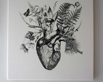 Growing Human Heart silk screened natural canvas wall hanging 16x16 black