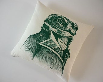 General Toad silk screened cotton canvas throw pillow 18 inch green on unbleached