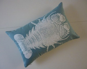 Slipper Lobster silk screened cotton throw pillow 18x12 teal blue white