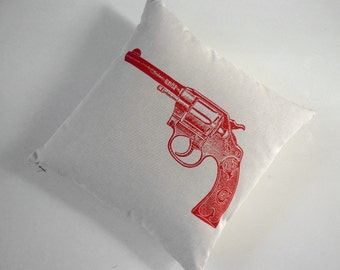 Vintage Colt Revolver silk screened cotton canvas throw pillow 18 inch red