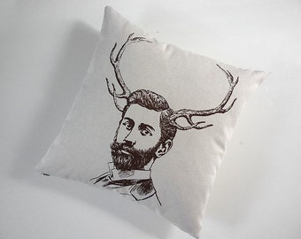 Handsome Young Bearded Buck screenprinted cotton canvas throw pillow 18 inch square