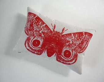 Giant IO Moth silk screened cotton canvas throw pillow 12x18 red