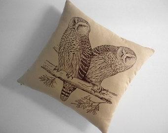 Owls silk screened cotton canvas throw pillow 18 inch desert brown