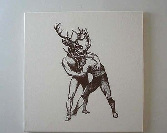 Brawling Bucks Wall Hanging 18x18 brown on natural canvas
