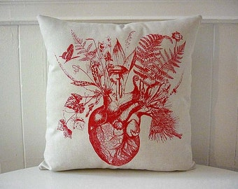 Growing human heart silk screened cotton canvas throw pillow 18 inch red