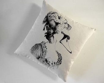 Marie Antoinette Swan cotton canvas throw pillow 18 inch black