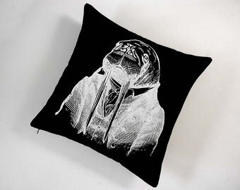 Professor Walrus silk screened cotton canvas throw pillow 18 inch white on black
