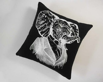 Elephant Professor silk screened cotton canvas throw pillow 18 inch white on black
