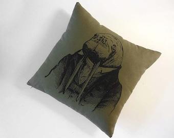 Professor Walrus silk screened cotton canvas throw pillow 18x18 moss green black