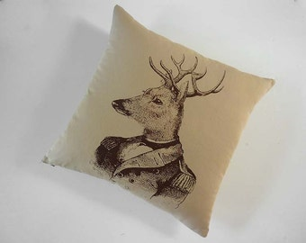 Deer General silk screened cotton canvas throw pillow 18 inch brown on desert