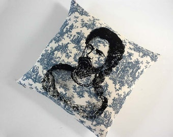 Bearded Lady or Man in Drag silkscreened blue toile throw pillow 18 inch square