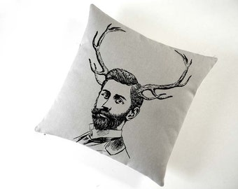 Handsome Young Bearded Deer Buck silk screened cotton canvas throw pillow 18 inch square