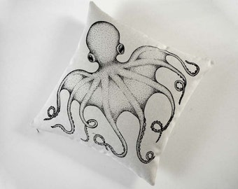 Octopus silk screened cotton canvas throw pillow 18 inch black sandstone
