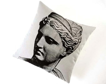 Venus statue silk screened cotton canvas throw pillow 18 inch black