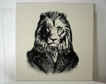 Lion hand silk screened wall hanging pillow 18x18