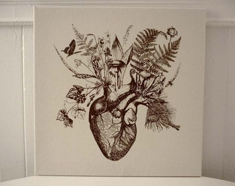 Growing Human Heart silk screened cotton canvas wall hanging 18x18 brown