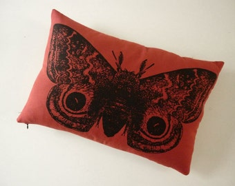 GIant IO Moth silk screened cotton canvas throw pillow RED 18x12