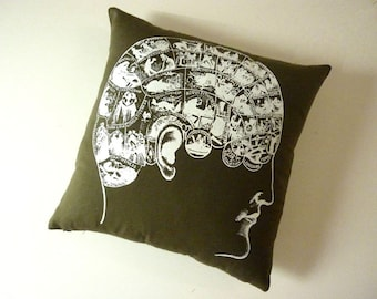 SALE Phrenology silk screened cotton canvas throw pillow 18 inch white on moss