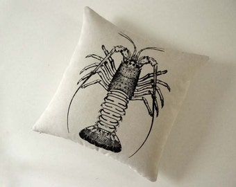 Spiny Lobster hand silk screened cotton canvas throw pillow 18 inch BLACK