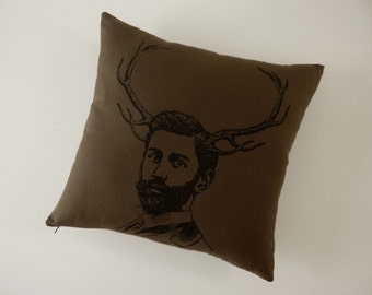 Handsome Deer Buck silk screened cotton canvas throw pillow 18 inch black on dark brown