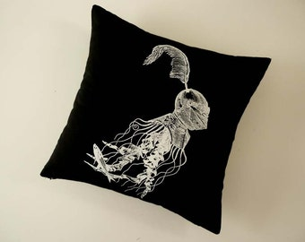 Jellyfish in armor silk screened cotton canvas throw pillow 18 inch white on black