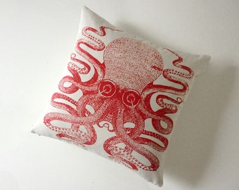 Giant Octopus silk screened cotton canvas throw pillow 18 inch red
