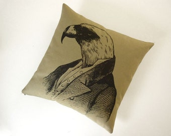 Regal Bald Eagle silk screened cotton canvas throw pillow 18 inch black on khaki