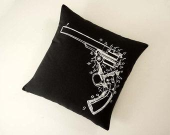 Gun Diagram silk screened cotton canvas throw pillow 18 inch white black