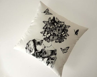 Moths and Butterflies silk screened cotton canvas throw pillow 18 inch black