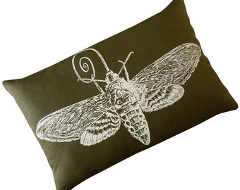 VIntage Moth silk screened cotton canvas throw pillow  12x18 inch moss white