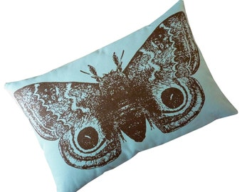 Giant IO Moth silk screened cotton canvas throw pillow toile 18x12 teal blue brown