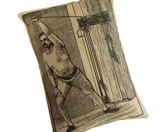 Vintage Workout silkscreened cotton canvas throw pillow 18x14 black on khaki