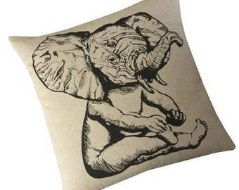 Elephant Baby silkscreened cotton canvas throw pillow 18 inch square