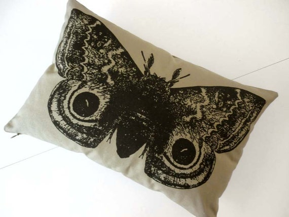 Giant IO Moth silk screened cotton canvas throw pillow KHAKI 18x12