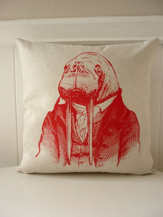 Doctor Walrus silk screened cotton canvas throw pillow 18 inch red