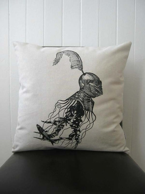 Jellyfish in Armor silkscreened cotton canvas throw pillow 18 inch square