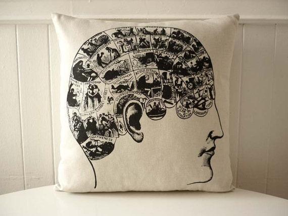 Vintage Phrenology Head silk screened cotton canvas throw pillow 18 inch black