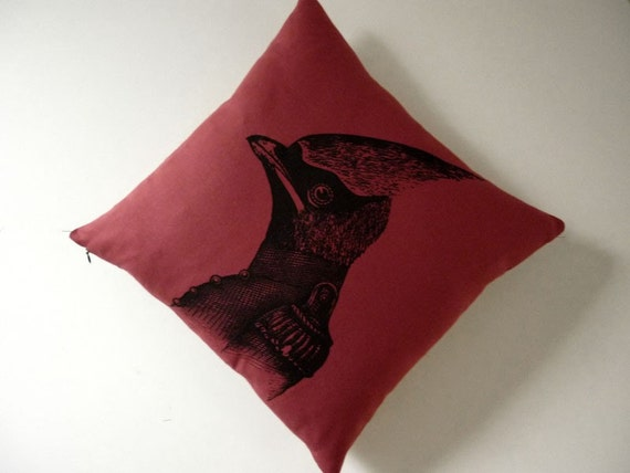 General Cardinal silk screened cotton throw pillow 18x18 red black